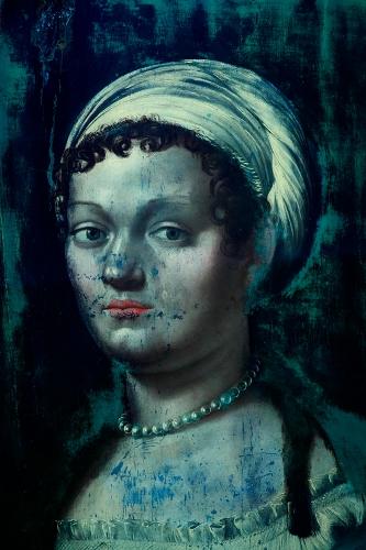 Giulio Romano, volto dopo la pulitura, luce UV